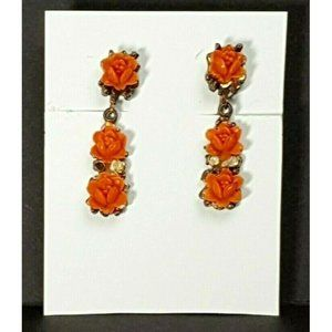 40's Celluloid Coral Roses Dangle ScrewOn Earrings